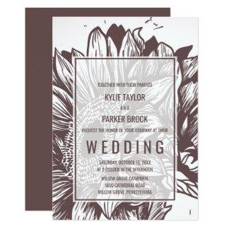 Rustikale Sonnenblume-Hochzeit 12,7 X 17,8 Cm Einladungskarte
