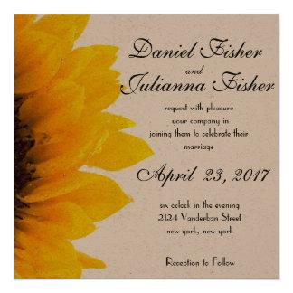 Rustikale Sonnenblume-Hochzeits-Einladung Karte