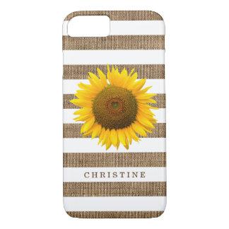 Rustikale Sonnenblume-Leinwand Stripes iPhone 8/7 Hülle