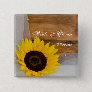 Rustikale Sonnenblume und Quadratischer Button 5,1 Cm