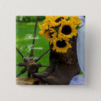 Rustikale Sonnenblumen und Quadratischer Button 5,1 Cm