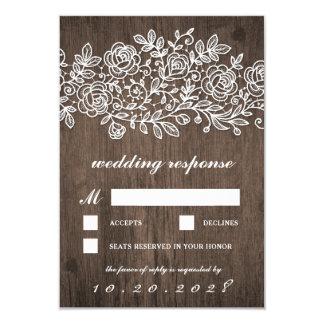 Rustikale Spitze-Land-Scheunen-hölzerne Hochzeit 8,9 X 12,7 Cm Einladungskarte
