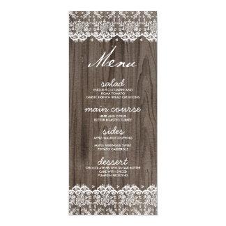 Rustikale Spitze-und Holz-Hochzeits-Menü-Karten 10,2 X 23,5 Cm Einladungskarte
