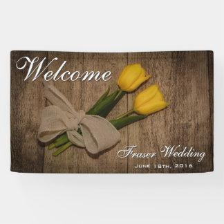 Rustikale Tulpen und Holz-willkommene Hochzeit Banner