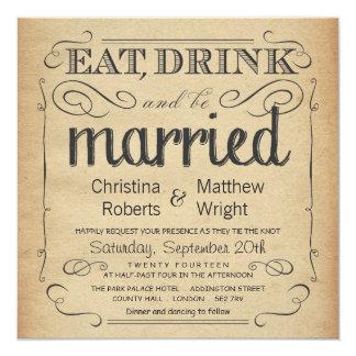 Rustikale Vintage Pergament-Hochzeits-Einladungen Quadratische 13,3 Cm Einladungskarte