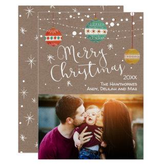 Rustikale WeihnachtsFoto-Karte mit Verzierungen Karte