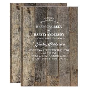 Rustikale Westernland Woodgrain Scheunenhochzeit Einladung