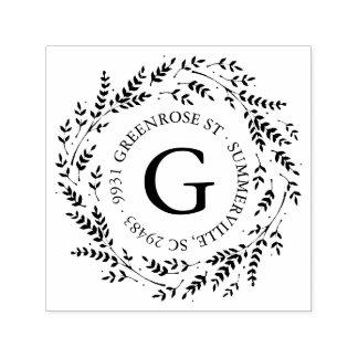 Rustikale Wreath-Monogramm-Adressen-Briefmarke Permastempel