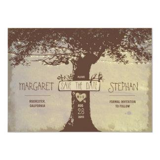 rustikaler Baum und Schnur beleuchtet Save the 11,4 X 15,9 Cm Einladungskarte