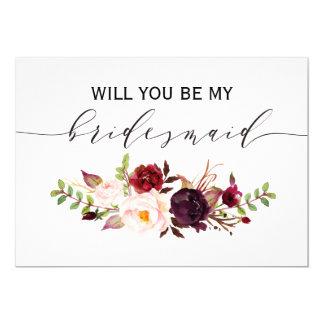 Rustikaler Blumenwille sind Sie meine Brautjungfer Karte