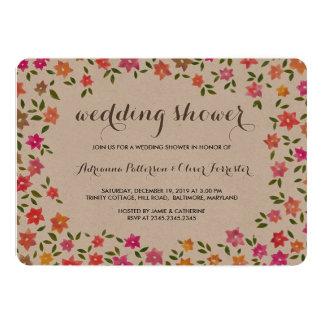 Rustikaler Blumenwreath-Polterabend 12,7 X 17,8 Cm Einladungskarte