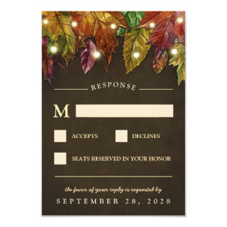 Rustikaler Fall-Herbst verlässt Hochzeit UAWG 8,9 X 12,7 Cm Einladungskarte