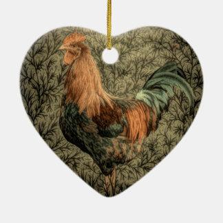 Rustikaler Hahn des ursprünglichen Keramik Herz-Ornament