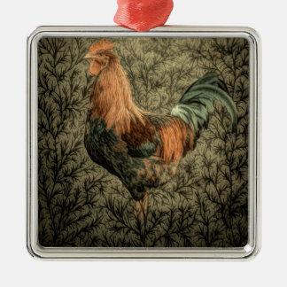 Rustikaler Hahn des ursprünglichen Quadratisches Silberfarbenes Ornament