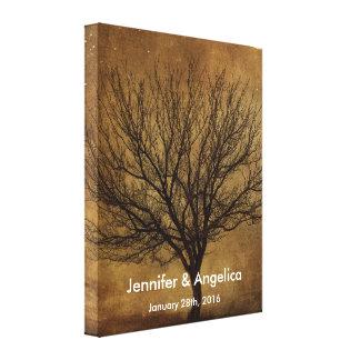 Rustikaler Hochzeits-Fingerabdruck-Baum Leinwanddruck