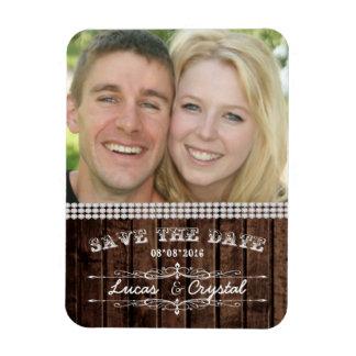 Rustikaler Hochzeits-Foto-Magnet Flexibler Magnet