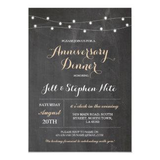 Rustikaler Hochzeits-Jahrestag beleuchtet Party 12,7 X 17,8 Cm Einladungskarte