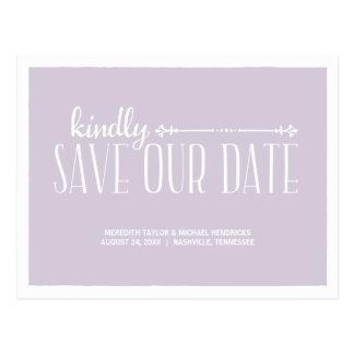 Rustikaler LandChic Save the Date Postkarte