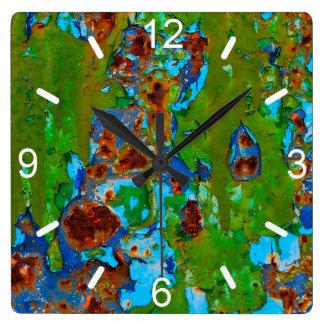 Rustikaler Metallschalen-Farben-Schmutz - Quadratische Wanduhr