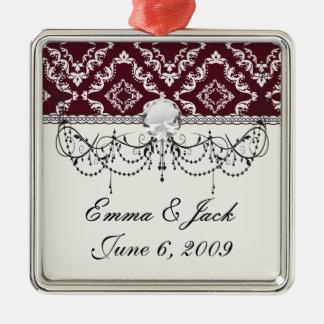 rustikaler roter Diamantdamast-Musterentwurf Silbernes Ornament