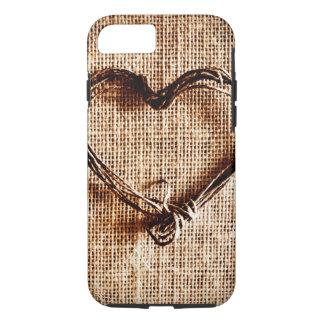 Rustikaler Schnur-Herz-Leinwand-Druck iPhone 7 iPhone 8/7 Hülle