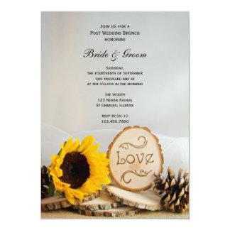 Rustikaler Sonnenblume-Waldposten-Hochzeits-Brunch 12,7 X 17,8 Cm Einladungskarte