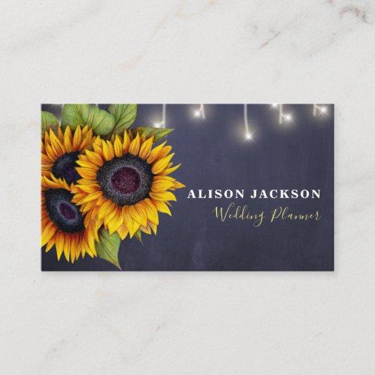 Rustikaler Sonnenblumemarineblau Hochzeitsplaner