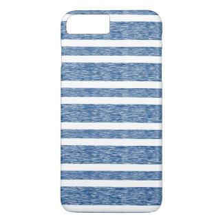 Rustikaler verblaßter blaue Streifen iPhone Kasten iPhone 8 Plus/7 Plus Hülle