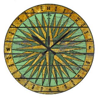 Rustikaler Vintager Kompass personifizieren Farbe Große Wanduhr