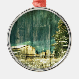 Rustikaler Winter immergrüne alte barnwood Rundes Silberfarbenes Ornament