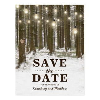 Rustikaler Winter-Waldbaum Save the Date Postkarte