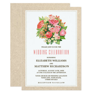 Rustikales Aquarell-Blumenhochzeits-Einladungen Karte