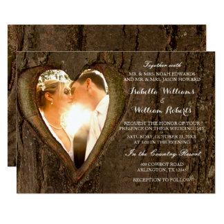 Rustikales Baum-Herz-Hochzeits-Foto 12,7 X 17,8 Cm Einladungskarte