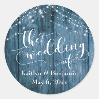 Rustikales blaues Wedding Holz-u. weißes Runder Aufkleber