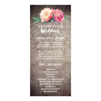 Rustikales Blumen-Blumenstrauß-Hochzeits-Programm Werbekarte