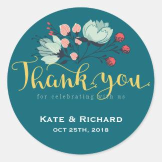 Rustikales Blumen-Skript danken Ihnen Runder Aufkleber