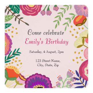 Rustikales Blumenblüten-Geburtstags-Party Quadratische 13,3 Cm Einladungskarte