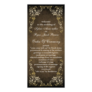 rustikales braunes königliches Hochzeitsprogramm Bedruckte Werbekarten