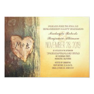 Rustikales geschnitztes Herz-Baum-Verlobungs-Party 12,7 X 17,8 Cm Einladungskarte