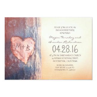 Rustikales geschnitztes Herzbaum-Verlobungs-Party 12,7 X 17,8 Cm Einladungskarte