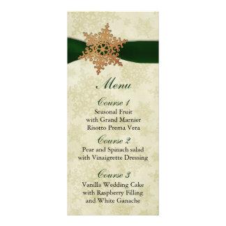 rustikales grünes Schneeflockewinter-Hochzeitsmenü Werbekarte