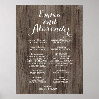 Rustikales Hochzeits-Programm-Wedding Poster