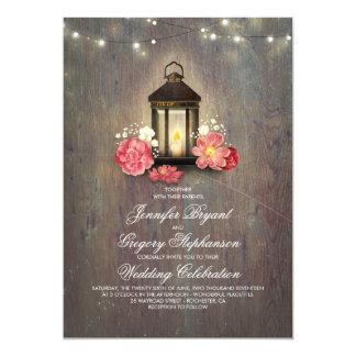 Rustikales Holz und Blumenlaternen-Licht-Hochzeit Karte
