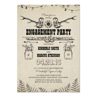 Rustikales Land-Cowboystiefel-Verlobungs-Party Karte