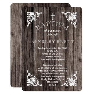 Rustikales Land-hölzerne Baby-Taufe 12,7 X 17,8 Cm Einladungskarte