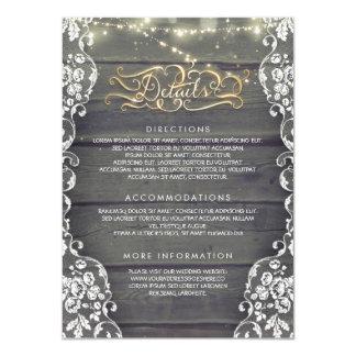 Rustikales Land-hölzerne Hochzeits-Details - Karte