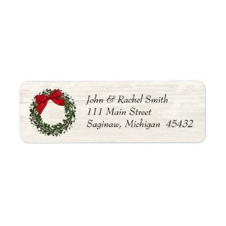 Rustikales Land-WeihnachtsKranz-Adressen-Etikett