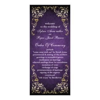 rustikales lila königliches Hochzeitsprogramm Bedruckte Werbekarte