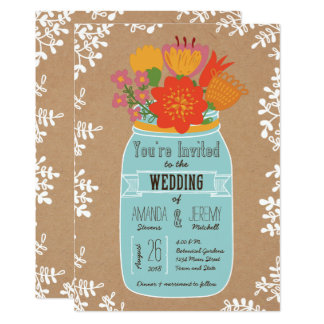 Rustikales Maurer-Glas mit Blumen auf 12,7 X 17,8 Cm Einladungskarte