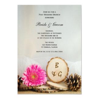 Rustikales rosa Gänseblümchen-natürlicher 12,7 X 17,8 Cm Einladungskarte